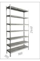купить Стеллаж металлический с металлической плитой 900x305x2440 мм, 7 полок /MB в Кишинёве