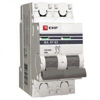Автоматический выключатель 2P 20А (B) 4,5kA ВА 47-63 EKF PROxima
