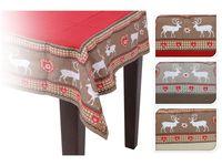 Скатерть рождественская 140X180сm, красноя с оленями