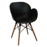 Пластиковый стул, деревянные ножки с металлической опорой 590x580x850 мм, черный