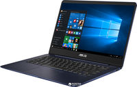 """NB ASUS 14.0"""" Zenbook UX430UN Blue (Core i7-8550U 16Gb 512Gb Win 10) 14.0"""" Full HD (1920x1080) Non-glare, Intel Core i7-8550U (4x Core, 1.8GHz - 4.0GHz, 8Mb), 16Gb (OnBoard) PC3-14900, 512Gb M.2, GeForce MX150 2Gb, micro HDMI, 802.11ac, Bluetooth, 1x USB 3.1 Type C, 1x USB 3.0, 1x USB 2.0, Card Reader, HD Webcam, Windows 10 Home RU, 3-cell 50 WHrs Polymer Battery, Illuminated Keyboard, 1.3kg, Blue"""