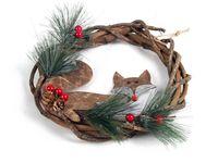 """купить Украшение венок """"Merry Christmas"""" с лисой D23cm в Кишинёве"""