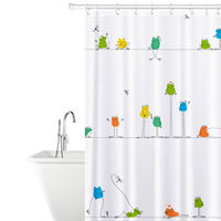 Тканевая штора для ванной ком FUNNY FROGS 180х180 см  Tatkraft 18099