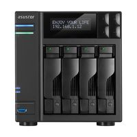"4-bay NAS Server  ASUSTOR ""AS6204T"", Intel Celeron N3150 (Quad-Core) 1.6-2.24GHz, 4GB DDR3L(Max.8GB), 2.5""/3.5""SATA x4 (Hot Swap), LCD Panel, USB3.0 x3, USB2.0 x2, eSATA x2, Gigabit LAN x2, HDMI, S/PDIF, AES-NI, HT, IR, Surveillance: <25 (4 Free)"