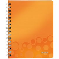 Leitz Тетрадь LEITZ WOW A5/80 л, PP пружина, клетка, оранжевая