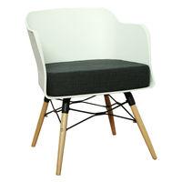 купить Пластиковый стул, деревянные ножки с металлической опорой 570x610x760 мм, белый в Кишинёве