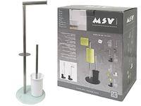 Suport WC 3in1 pentru perie, hartie, rezerva, sticla/inoxi, alb