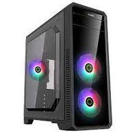 Carcasă ATX GAMEMAX G561-FRGB, fără alimentator, 3x120mm, RGB, panou transparent, USB3.0, negru
