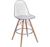 купить Металлический стул с деревянными ножками и текстильным сиденьем, 570x570x880 мм, белый в Кишинёве