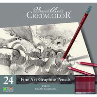 Set de creioane grafite negre 24 articole Cleos Fine Art Cretacolor