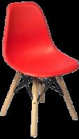 cumpără Scaun din plastic, picioare din lemn cu suport metalic, 500x460x450x820 mm, roșu în Chișinău