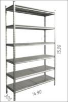 купить Стеллаж металлический с металлической плитой 1490x305x1530 мм, 6 полок/MB в Кишинёве