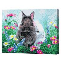 Iepurași printre flori, 40х50 cm, pictură pe numere Articol: GX36237