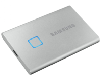1,0 ТБ (USB3.2 / Type-C) Samsung Portable SSD T7 Touch, FP ID, серебристый (85x57x8 мм, 58 г, R / W: 1050 МБ / с)