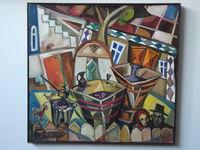 Крестьянский дворик, 75x80 см., холст, масло