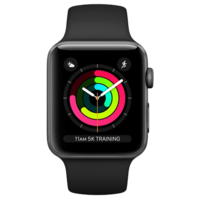 Apple Watch 3 42mm/Space Gray Aluminium Case With Black Sport Band, MTF32 GPS, Space Grey