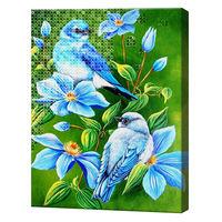 Mozaic cu diamante+pictură pe numere 40x50 cm Flori și păsări azurii YHDGJ75470