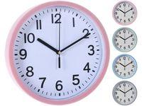 Часы настенные круглые 22.5cm, H3.8cm, пластик, 4 цвета
