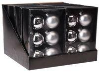 Набор шаров 6X65mm, 3матов, 3глянц, серебряных, в коробке