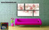 Картина напечатанная на холсте - Триптих из 4 частей Цветы 0011