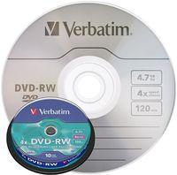 VERBATIM Диск DVD-RW VERBATIM 4x/4.7, 10 штук, spindle 43552