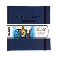 Sketchbook pentru acuarelă Malevich,Waterfall, albastru închis 200 gm 14,5х14,5 cm, 40 foi