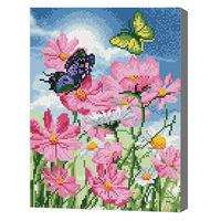 Бабочки и цветы, 30x40 см, алмазная мозаика QS200395