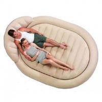 Надувная кровать овальная бежевая  234х178х69см