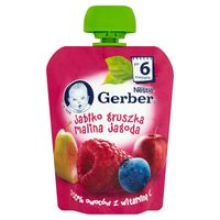 Gerber пюре груша яблоко, малина и черника,6 мес, 90 гр