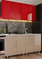 Кухонный гарнитур Bafimob Mini (High Gloss) 1.4m Cappuccino/Red
