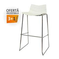 купить Барный стул из пластика, хромированные ножки 490x530x940 мм, белый в Кишинёве