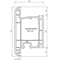 """Montblanc"" Eco ДВЕРНОЙ Импост (60мм, 3.0мм, Класс А)"