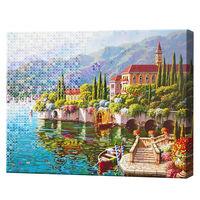 Алмазная мозаика + роспись по номерам 40х50 см Приморский городок YHDGJ70556