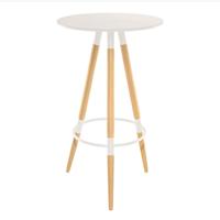 купить Круглый барный стол  с поверхностью из МДФ и деревянной ножкой 600х1050 мм, белый в Кишинёве