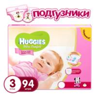Huggies подгузники Ultra Comfort 3, для девочек, 5-9кг. 94шт