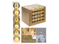 купить Набор шаров 6X60mm, золотые(мат/глянц), в тубе в Кишинёве
