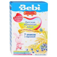 Bebi Premium каша 7 злаков молочная с черникой, 6+мес. 200г