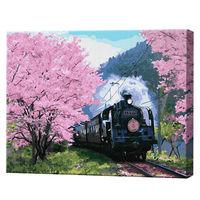 Tren în aleea sakurei, 40х50 cm, pictură pe numere Articol: GX36648