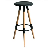 купить Барный стул, сиденье из МДФ, ножки деревянные, черный в Кишинёве