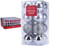 Set de globuri 16X50mm argintii in cutie, 3 modele