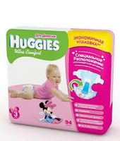 Huggies Ultra Comfort Giga Girl 3 (5-9 кг.) 94 шт.