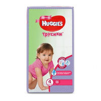 Huggies трусики для девочек 4, 9-14кг. 52шт