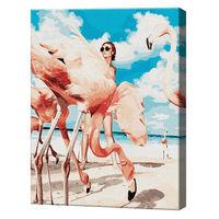 Flamingo pe plajă, 40х50 cm, pictură pe numere Articol: GX38393