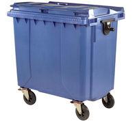 Бак мусорный 1100 л  пластик  - на колесах (синий)  UNI (БРАК)