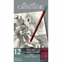 Set de creioane grafite negre, 12 articole, Cleos Fine Art Cretacolor