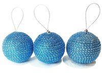 Set globuri pentru brad 3bucX80mm din margele bleu