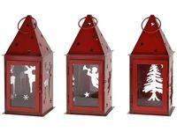 купить Фонарь подвесной красный 11X11X25.5cm (олень/елка/ангел) в Кишинёве