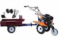 Set motocultivator TECHNOWORKER HB 700N + Remorca RK500 + plug cartofi + plug reglabil + roti metalice 4*8