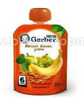 Gerber пюре Яблоко-банан- злаки 90 гр