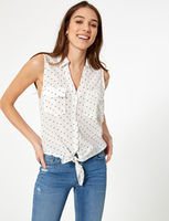 Блуза Jennyfer Белая в горошек 51byep